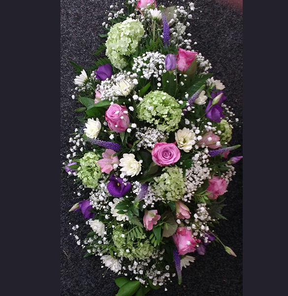 Funeral Flowers - Spray Arrangement for on Coffin by Miss Daisy Warrington