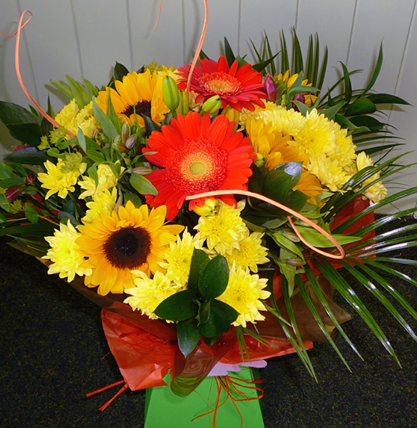 Colourful flower arrangement from warrington delivered to your door